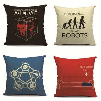 New Square Black ROBOTS Home Decorative soft seat car cotton linen Cushion Covers robot cute cartoon suit cushion almohada