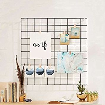 "Hosal Multifunction Grid Panel,Wall Decor/ Photo Wall/ Wall Art Display/ Organizer, Size:23.6"" x 23.6"", Pack of 2 Pcs, Black"