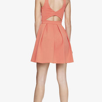 HEART BACK CUT-OUT FIT AND FLARE DRESS from EXPRESS