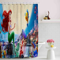 "Cute Little Mermaid Disney Custom Shower Curtain 60""x72"" High Quality"
