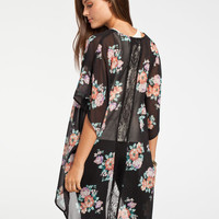Full Tilt Floral Print Womens Lace Back Kimono Multi  In Sizes