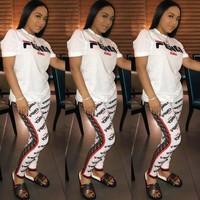 FENDI Hot Sale Stylish Woman Casual Print Short Sleeve Top Pants Set Two Piece Sportswear