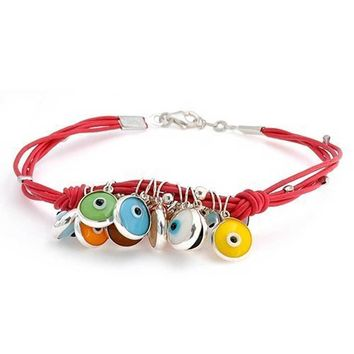 Evil Eye Charms Red Leather Bracelet 14K Gold Plated Sterling Silver