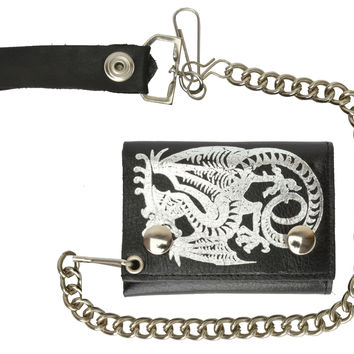 Genuine Leather Biker Trifold Chain Wallet Dragon Imprint 946-19 (C)