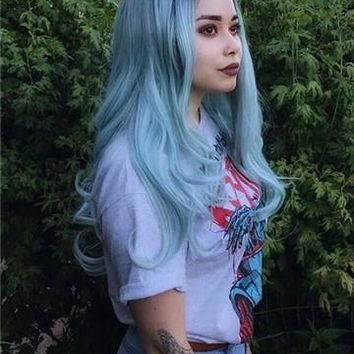 Long Anime Mint Green Ombre Synthetic Lace Front Wig