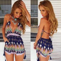 Fashion Women Floral Beach Chiffon Bodycon Jumpsuit Short Pant To Tops = 4721062724