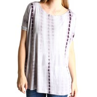 Grey Tie Dye Piko Short Sleeve Top