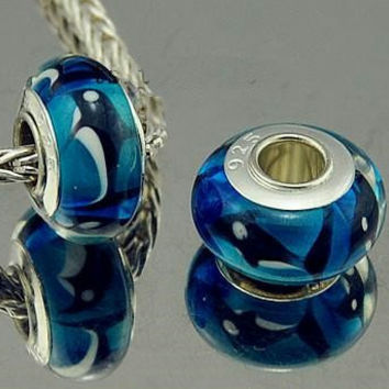 Orca the Killer Whale Murano Lampwork Glass Bead Charm Silver Core Fits  European Charm Bracelets big hole bead charm