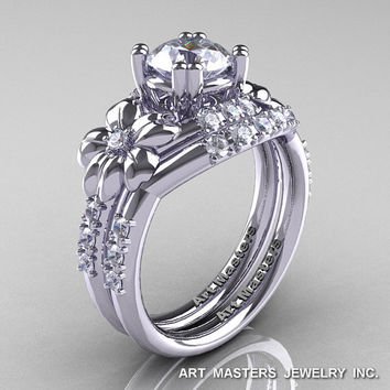 Nature Inspired 14K White Gold 1.0 Ct Russian CZ Diamond Leaf and Vine Engagement Ring Wedding Band Set R245S-14KWGDCZ