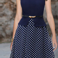 Cadetblue Polka Dot Sleeveless Dress with Belt