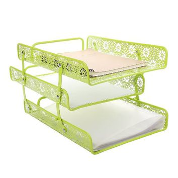 Crystallove Green Metal Hollow 3-Tier Paper File Sorter Magazine Holder