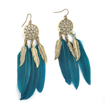 Native Blue Feather Earrings