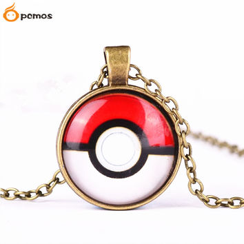 [PCMOS] 2016 Trendy Anime Pokemon Pokeball Vintage Jewelry Glass Metal Pendant Necklace Cosplay Gift Free Shipping 16060715