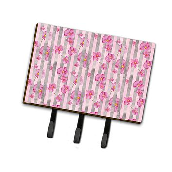 Watercolor Pink Flowers Grey Stripes Leash or Key Holder BB7502TH68