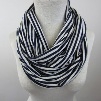 Striped Infinity Scarf - Blue and White Striped Scarf - Nautical Scarf