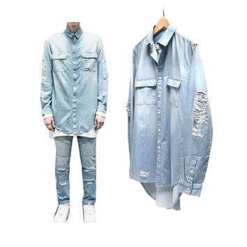 2015 New Man Distressed Denim Shirts Mens Hip Hop Blue Cowboy shirt Long Sleeve Hiphop Streetwear Swag Tyga Top Tee Clothes