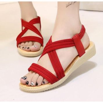 Summer Casual Beach Style  Sandals in Red