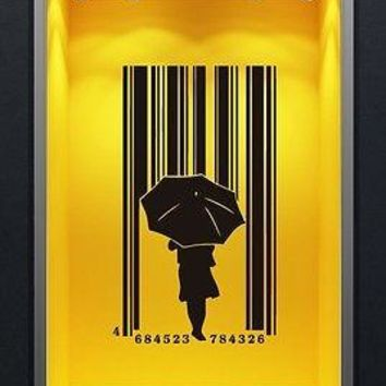 Wall Stickers Vinyl Decal Girl With an Umbrella Under Rain Barcode Unique Gift ig1489