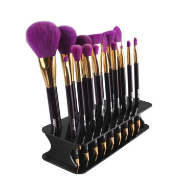 High Quality 15 Hole Black Square Makeup Brush Holder Drying Rack Organizer Cosmetic Shelf Tool 1pc Oct03
