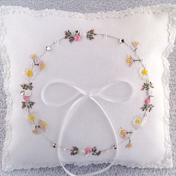 Hand Embroidered Ring Pillow Flower Design Silk Ribbon Embroidery
