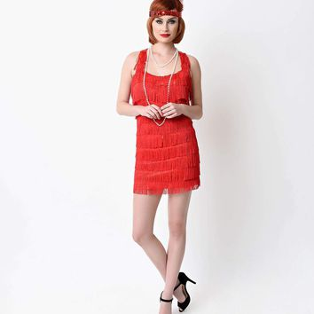 Red Lindy and Lace Fringe Flapper Costume