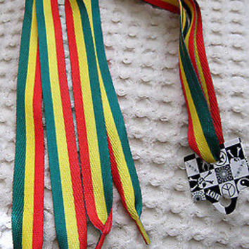 Premium Rasta Red Yellow Green Stripes Rockabilly Punk Shoe Laces Shoelaces-New!