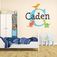 Boys Dinosaur Name Monogram Wall Decal #1 Nursery Room Kids Vinyl Wall Graphics Bedroom Decor