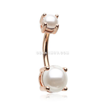 Rose Gold Pearlescent Shine Prong Set Belly Button Ring (White)