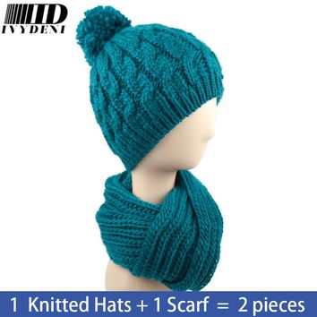 6 Color Female Winter Solid Crochet Hat Scarf Set Knitted Hats For Women Skullies Beanies Warm 2016 New Wool Hat Hijab Turban