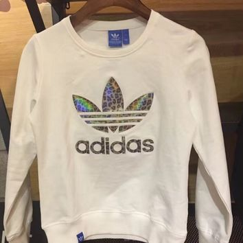 Adidas Originals Fashion Reflective Logo Print Long-sleeves Round Neck Pullover Tops Sweater T-shirt Sweatshirts