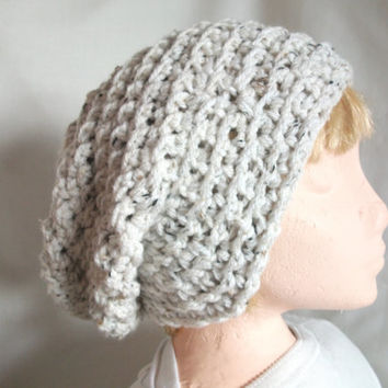 Aran Slouchy Super Chunky Beanie Hat for Men or Women, Hand Crocheted in Oatmeal. Fashion Accessories. Winter Warmers,
