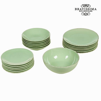 19 piece green dinner set - Kitchen's Deco Collection by Bravissima Kitchen