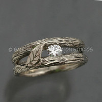 SOLITAIRE LEAF and White Sapphire, A Twig Ring in Sterling Silver