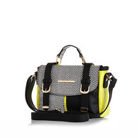 River Island Girls black and white color block satchel