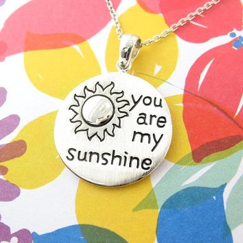You Are My Sunshine' Message Necklace With Shiny Dome Sun