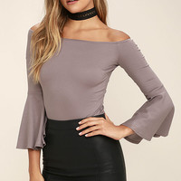 Good One Taupe Off-the-Shoulder Bodysuit