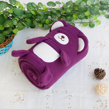 Happy Bear Purple Embroidered Applique Coral Fleece Baby Throw Blanket in 42.5 by 59.1 inches