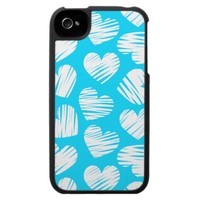 Blue and white hearts iPhone 4 case from Zazzle.com