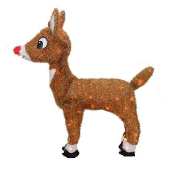 "26"" Pre-Lit Rudolph the Red-Nosed Reindeer Christmas Yard Art Decoration - Clear Lights"