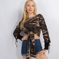 Womens Camouflage Print Pullover Sweater +Gift Necklace