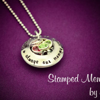 Forever & Always Our Mommy - Hand Stamped Stainless Steel Locket - Personalized with Children's Names and Birthstones - Mother's Day Gift
