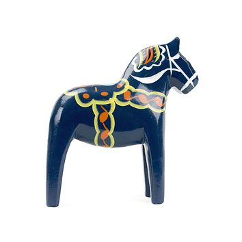 Large Blue Swedish Dala Horse Wood Figurine