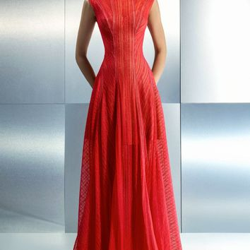Beside Couture - CH1650 Bateau Neckline Sheer Evening Gown