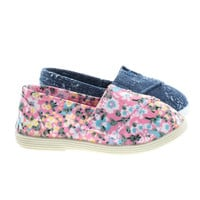 ObertIIsq Pink Flower by Soda, Toddler Baby Girl's Round Toe Casual Flats in Floral & Denim