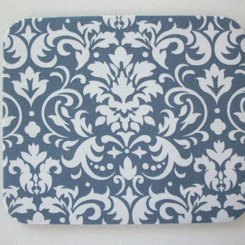 mousepad / Mouse Pad / Mat round or rectangle - Gray and White Damask