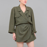 90s Army Green Romper Slouchy Blouson Long Sleeve Onesuit Vintage Sarong Mini Shorts Jumper 1980s Safari Jumpsuit Medium M
