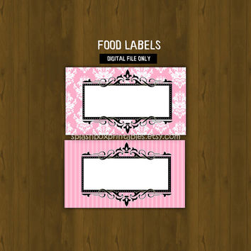 Paris Printable Damask Food Labels - French Cafe Place Cards or Food Labels (Tent Cards) - INSTANT DOWNLOAD
