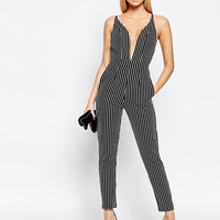 Boohoo Plunge Neck Stripe Jumpsuit at asos.com