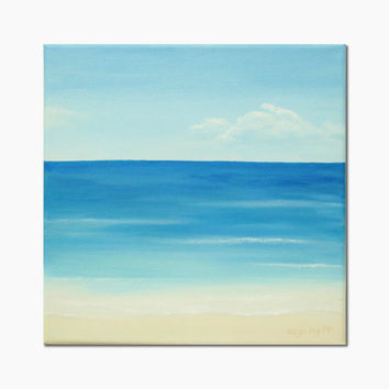 "Original Ocean Painting, Calm Sea Art, Blue Sky Fine Art, Blue Seascape, Blue Water Fine Art, Turquoise Ocean Art, Beach Art, 10"" X 10"""