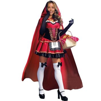 High Quality Sexy Little Red Riding Hood Costume Party Adult Small RedCap Cosplay Dress 2018 New Clothing Halloween For Women
